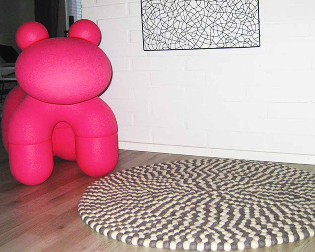 pink large dog white grey carpet felt balls