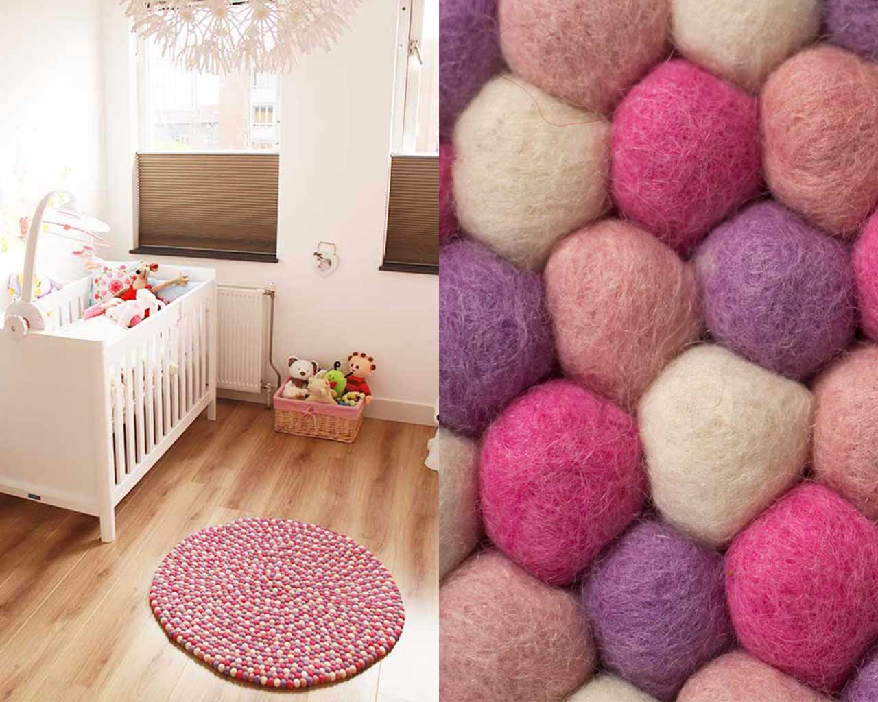 nursery children room felt balls rug