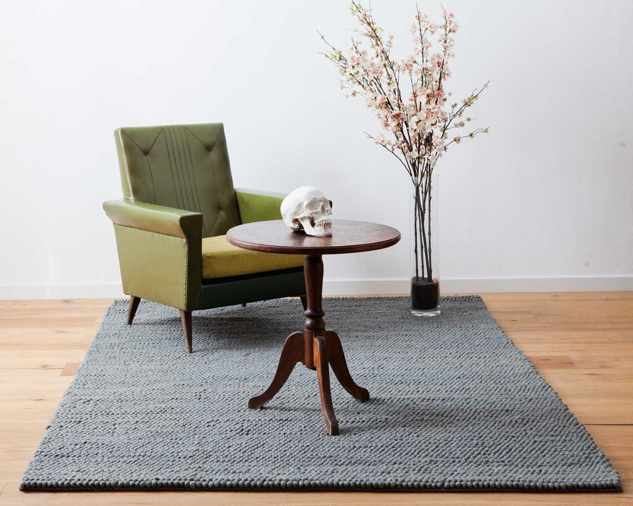 skull grey wool blue chair antique