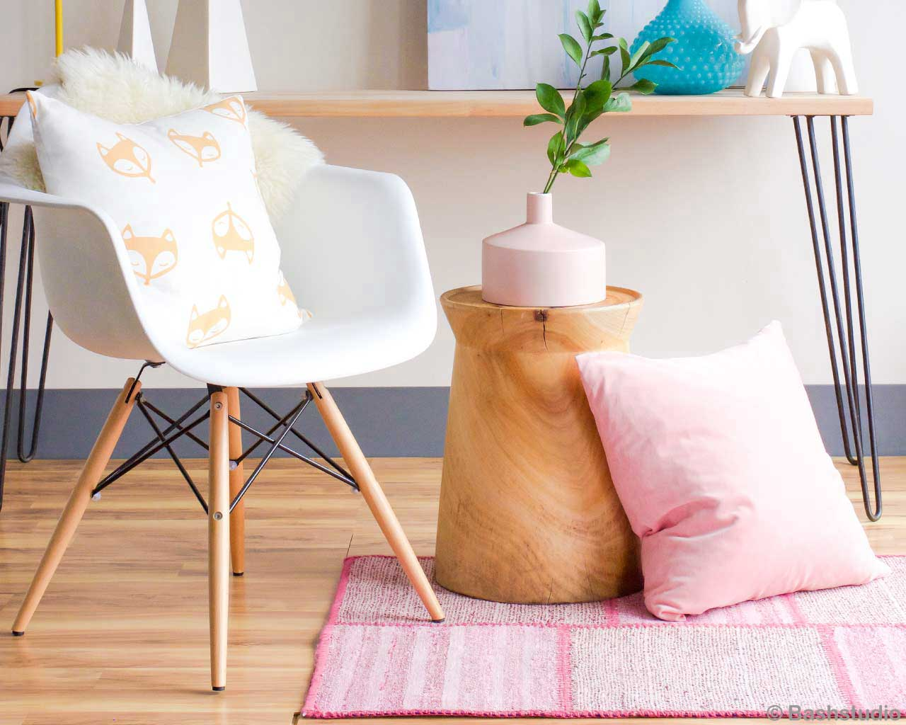 light pink kelim carpet white hip chair design blog